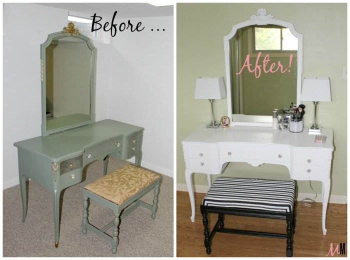 1940 S Vintage Vanity Table Bench Makeover What Karly Said